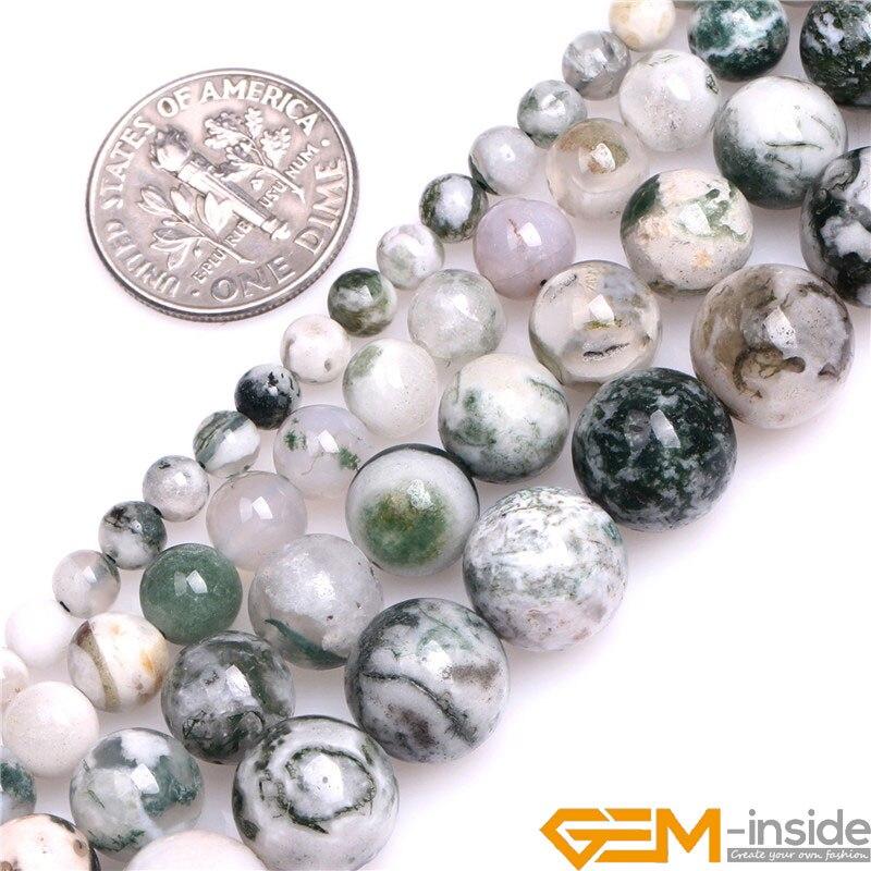 4mm 6mm 8mm 10mm Runde Natürliche Grüne Moos Baum Achate Stein Perlen DIY Lose Perlen Für schmuck Machen Strang 15