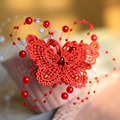 Red bridal jewellery headdress handmade pearl wedding jewelry butterfly hair clips hair accessories for women