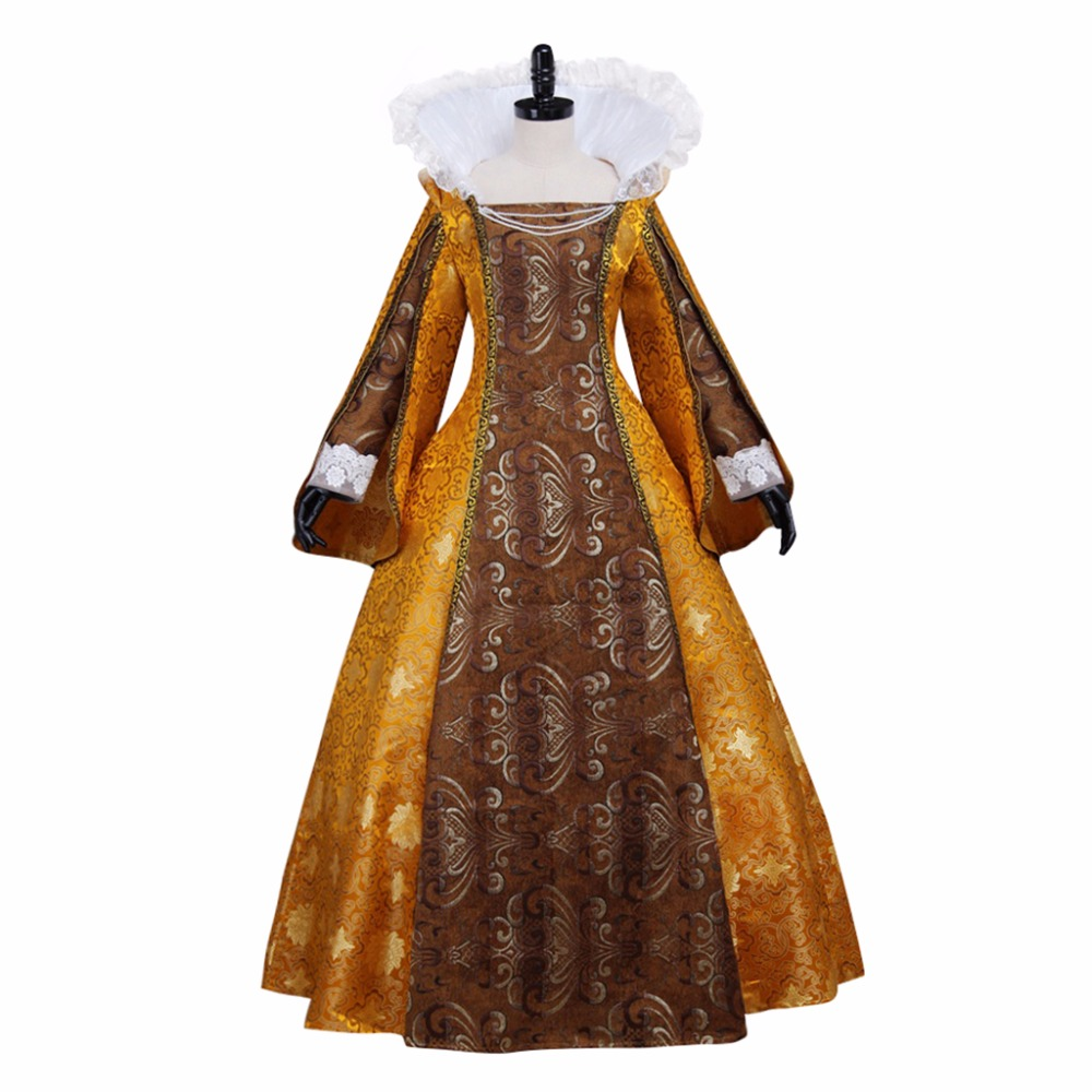 Adult\'s Dress Cosplay Vintage Golden Medieval Renaissance Tudor ...