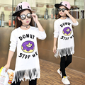 Girls Tassels Dresses Long Sleeve Cotton Children Dresses For Girls Clothing 2016 Letter Cartoon Kids Clothes 4 6 8 10 12 Years