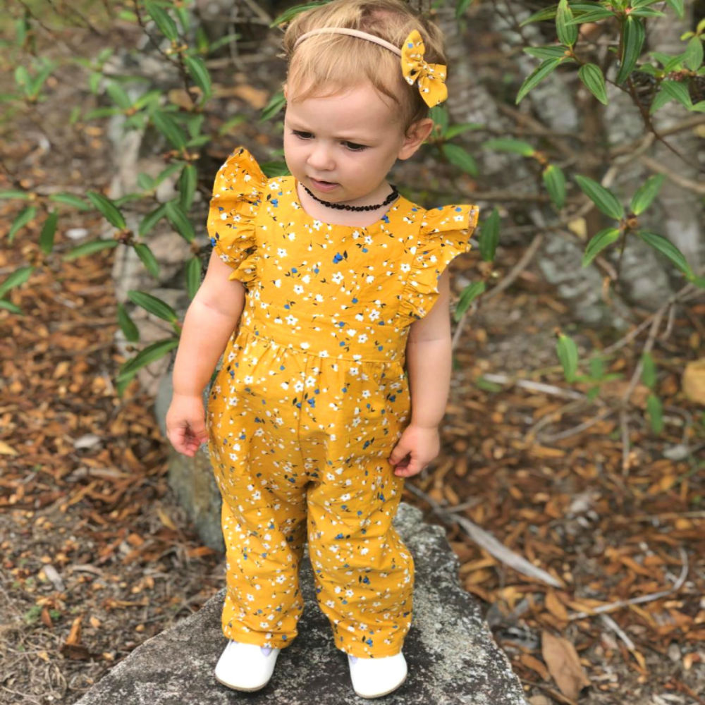 ><font><b>2Pcs</b></font> <font><b>Toddler</b></font> <font><b>Kid</b></font> Baby Girl Newest Fashion Clothes Yellow Floral Fly Sleeve Romper Jumpsuit Causal Cotton Outfits Set Princess