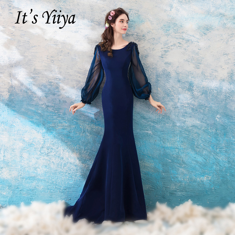 It's YiiYa Navy Blue Long Sleeves Backless Satin Lace Up Mermaid Party Frocks   Dresses   Trumpet Floor Length   Evening     Dress   LX007