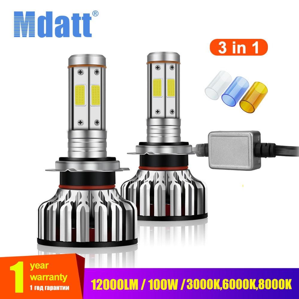 Mdatt 4 Side Car light Bulb COB H1 H7 H4 H11 LED Auto Car Light Canbus 12000Lm 100W 9005/HB3 9006 3000K 6000K 8000K Lamp screenshot