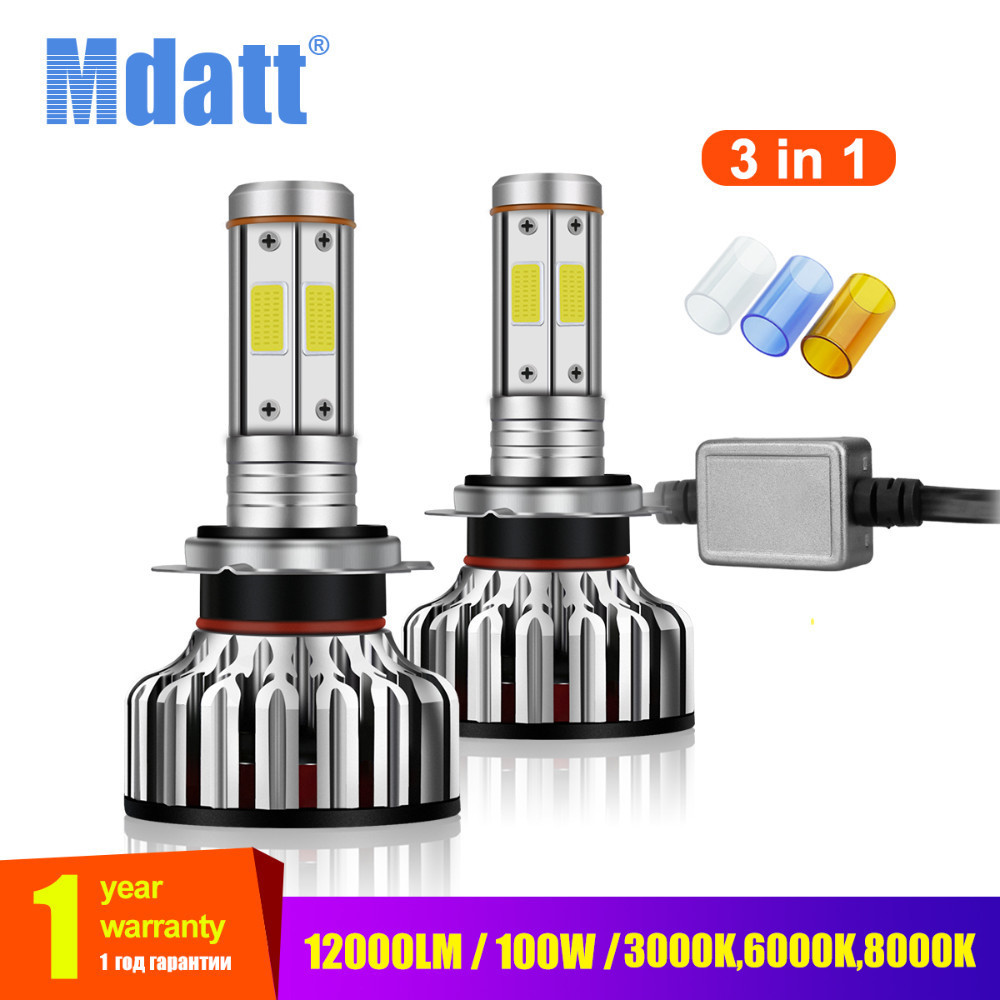 Mdatt 4 Side Car LED Headlight Bulb COB H1 H7 H4 H11 LED Auto Car Light Canbus 12000Lm 100W 9005/HB3 9006 3000K 6000K 8000K Lamp lyc truck lights lamps accessories for car extra headlight automobile car led light 3000k 6000k motorcycles side lighting