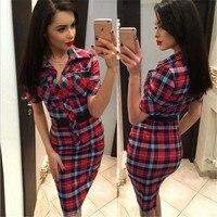 Women Dress Fashion Simple Lattice Dress Female