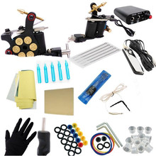 Complete Beginner Tattoo Kit 1 Machine Power Supply Foot Pedal Clip Cord Needles TM-KIT-D