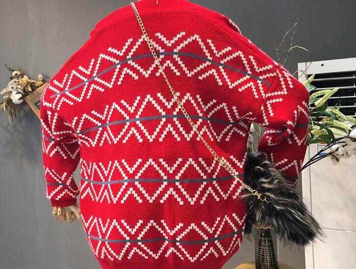 Unique Tricot Poitrine Nouvelles Motif Occasionnel Géométrique Chauve Femmes Automne De Lâche Pull Kaki Cardigan En 2018 Mode rouge blanc souris Manches a4Pxwvnqp