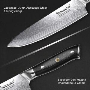 Image 4 - Sunnecko 7 pçs faca de cozinha conjunto chef pão santoku utilitário aparas facas 73 layer damasco vg10 aço afiada balde ferramentas de corte