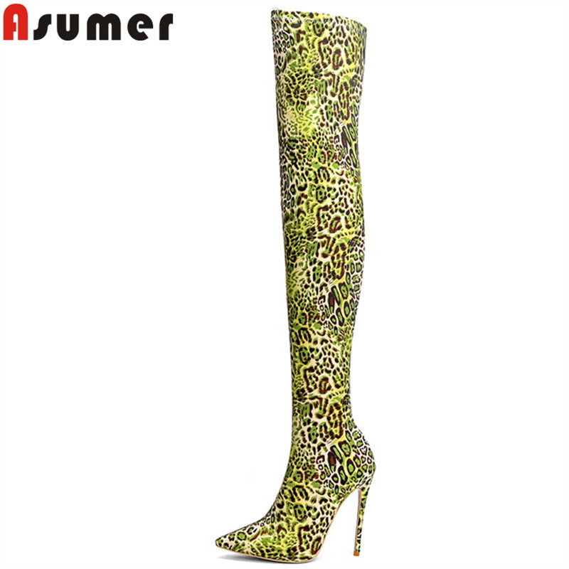 ASUMER big size 33-43 fashion hot sale new over the knee boots pointed toe elegant prom boots super high thin heels long boots summer bling thin heels pumps pointed toe fashion sexy high heels boots 2016 new big size 41 42 43 pumps 20161217