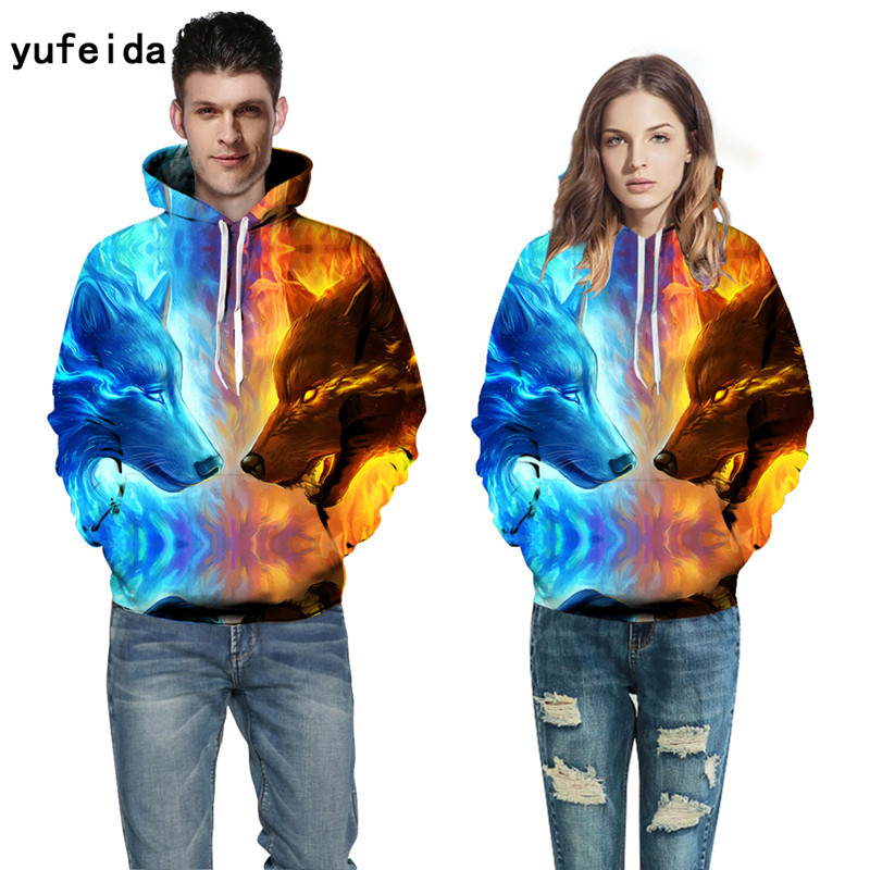 YUFEIDA Winter Hoody for Men Women 3D Prints Sweatshirts Animal Print Hoodies With Cap Autumn Winter Loose Thin Hooded Tops