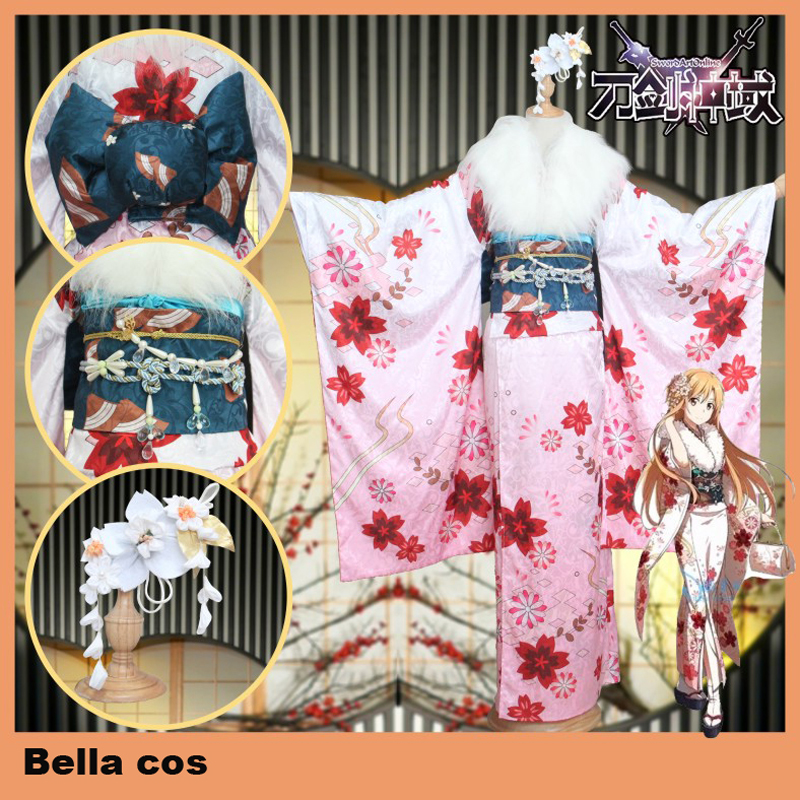 Custom size Sword Art Online Yuki Asuna cosplay costume spring new year kimono dress masquerade Carnival Anime party outfits cos