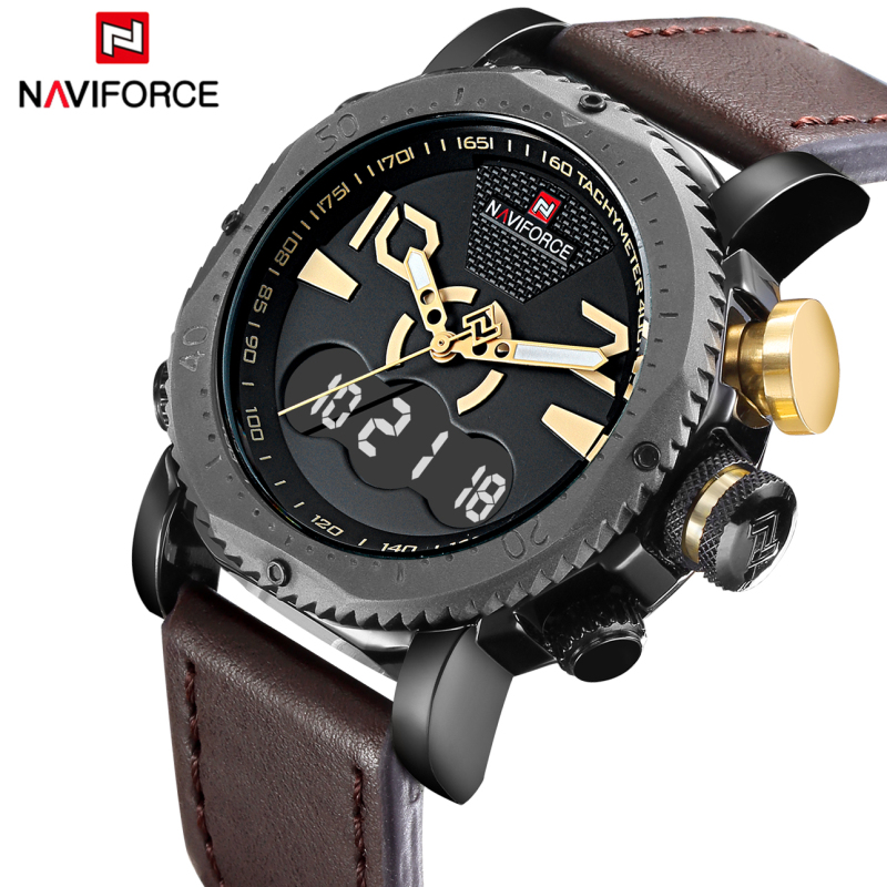 Watches Men NAVIFORCE Brand Men's Fashion Sport Watches Men Quartz Analog LED Clock Man Leather Military Waterproof Wrist Watch xinew fashion luxury man watches xinew men s leather band watches military sport analog quartz date wrist watch for men feida