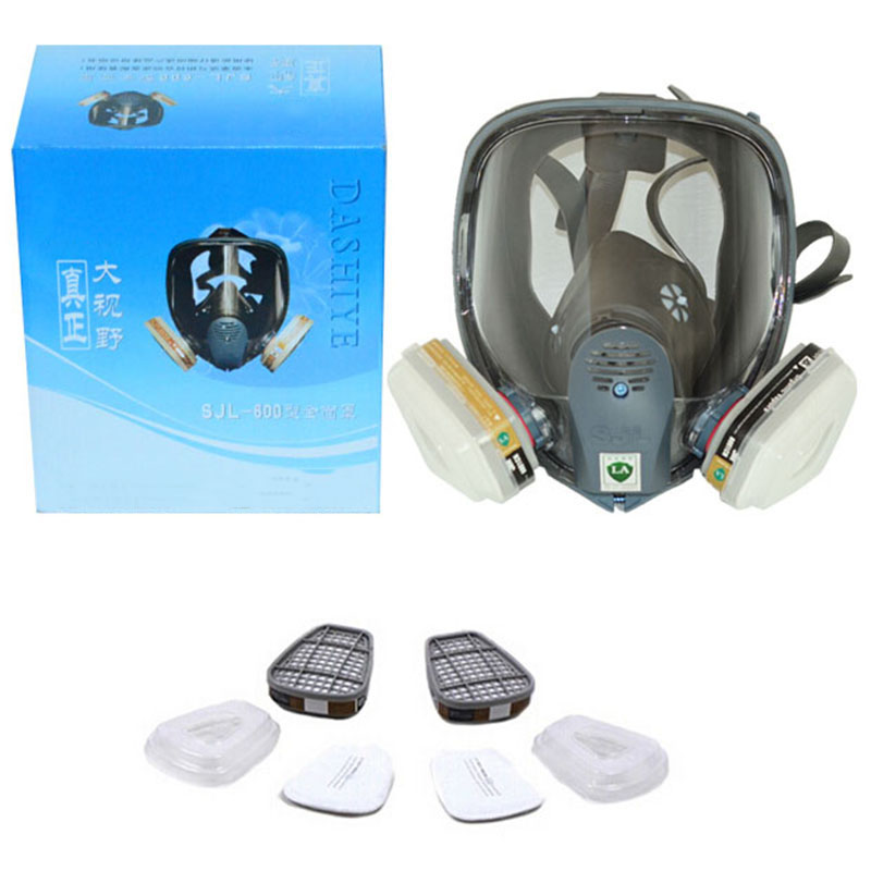 Full face gas Mask Organic Vapor Cartridge Respirator Face Mask for Painting Spraying Anti-dust formaldehyde Fire comparable6800 3m 6300 6009 reusable half face mask respirator mercury organic vapor chlorine acid gas cartridge 7 items for 1 set k01010