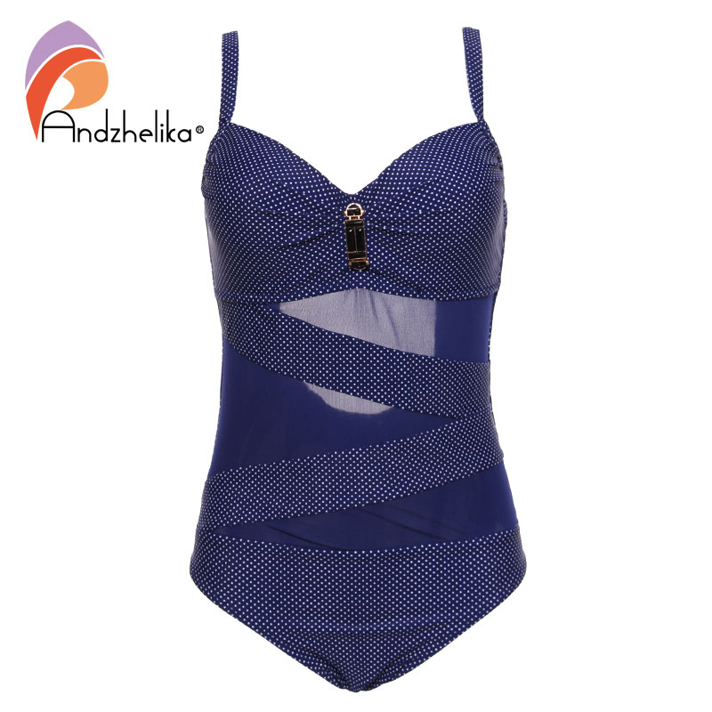 Andzhelika 2017 New Swimsuit Women One Piece Swimwear Sexy Mesh Dot Beach Wear Monokini Plus Size Swim Suit Bathing Suit AK81701 sexy women one piece dress swimsuit padded bathing suit monokini halter skirt swimwear plus size lace style mesh beach wear