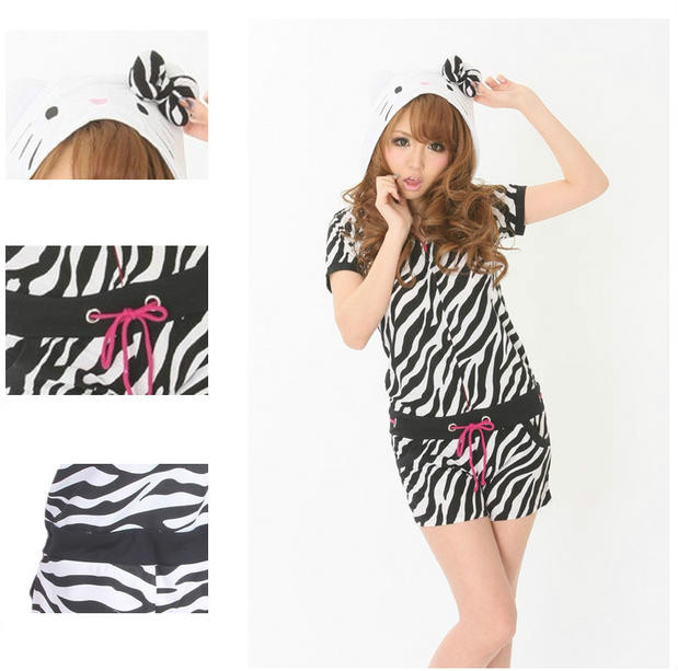 Animal Zebra Leopard Pyjamas Kitty Cat Pajama Women Cartoon Summer Onesie with Ears Female All In One Cotton Cosplay Cotume
