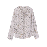 New Summer Fashion V Collar Lace Flower Shirt All Match Long Sleeved Chiffon Blouse HLN1047