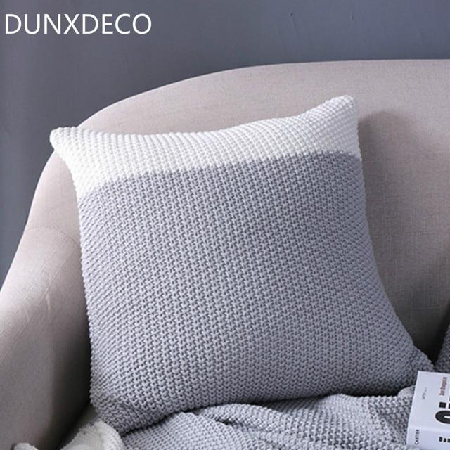 DUNXDECO Polsterbezüge Knitting Kissen Fall Moderne Nordic Weiß Grau ...