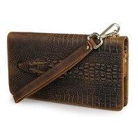 100% Genuine Leather Men Wallet Vintage Cowhide Crocodile Pattern Male Long Clutch Wallets Man Hand Take Bag PR088068R