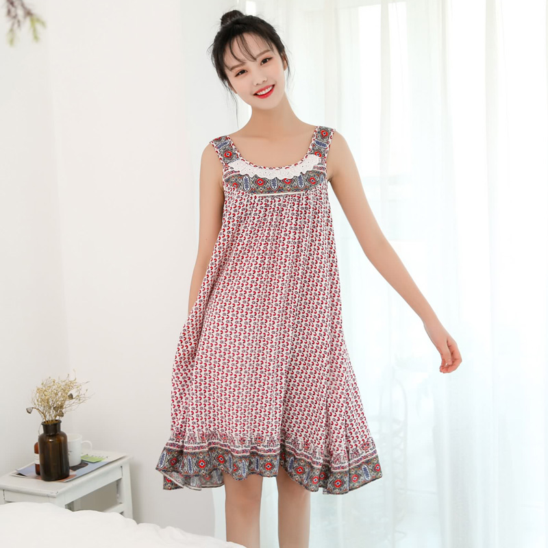 Lovely Lace Nightgowns Sleepshirts Sleepwear Women Night Dresses Sleeveless Nightwear Sexy Night Dress Femme Nighty AD291