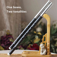 Chinese Traditional Music Instrument ABS Resin Bawu Two Tonalities Accurately Tuned Transverse Double Pipes Flauta With Manual