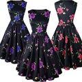 Mulheres roupas de verão estilo 50 s vestidos de robe rockabilly balanço retro vintage imprimir floral casual vestidos