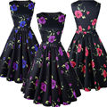 Womens Clothing Summer Style 50s Vintage Robe Rockabilly Dresses Retro Swing Casual Floral Print Vestidos