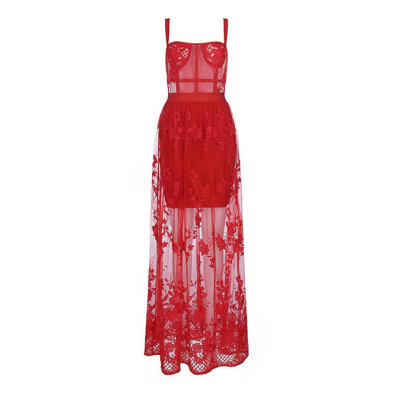 סלבריטאים באיכות גבוהה אדום תחרה שרוולים חלול החוצה ארוך ריון תחבושת שמלת ערב המפלגה שמלה אלגנטית