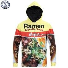 Mr.BaoLong newest hip hop fashion hooded sweatshirt men 's Ramen noodle 3D printed assassins creed style hoody hoodies man H8