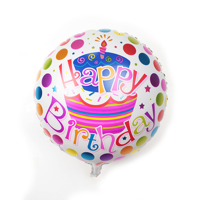 Pcs  Inch Round Shaped Happy Birthday Foil Balloons Inflatable - Happy birthday 18 cake