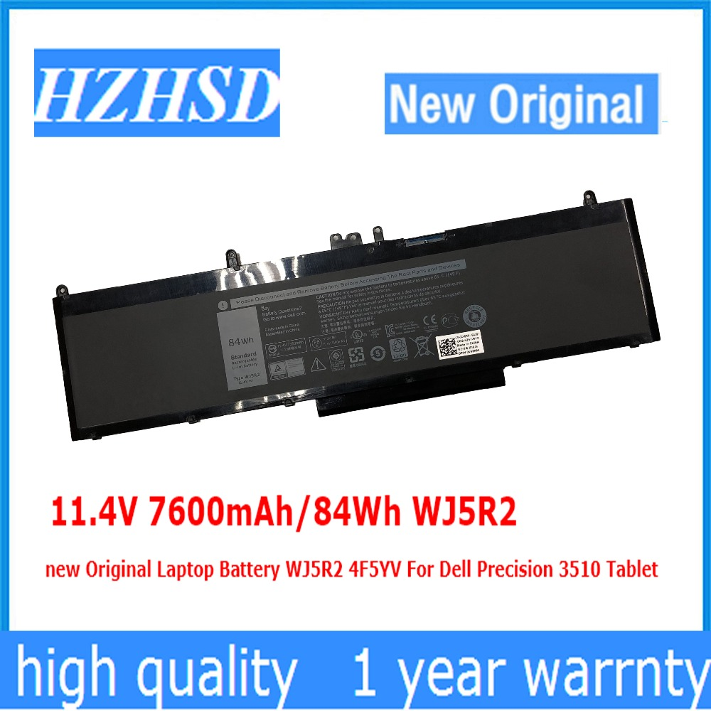 11.4V 7600mAh/84Wh WJ5R2 new Original Laptop Battery WJ5R2 4F5YV For <font><b>Dell</b></font> Precision <font><b>3510</b></font> Tablet image