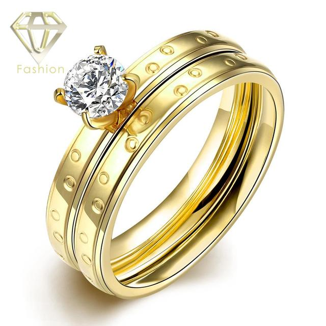 Wedding Rings UK Wholesale Jewelry Clear Zircon Double Layer Gold