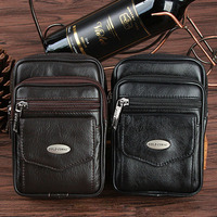 Men Genuine Leather Cowhide Fashion Fanny Waist Pack Cell Mobile Phone Case Coin Purse Belt Hip