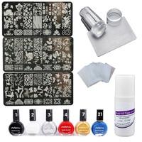 NAIL STAMP PLATE SET Nail Art Stamping Plate+Nail Stamp Polish+Clear Stamper Scraper Set + Wash Nail Water +Wipes Cutton free