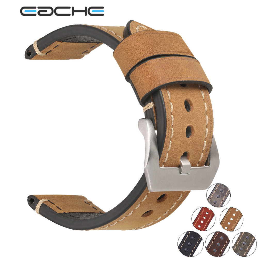 Eache Genuine Leather Watch Band Strap for P Watch Brown Black Grey Green20mm 22mm 24mm 26mm With Silver Stainless steel Buckles