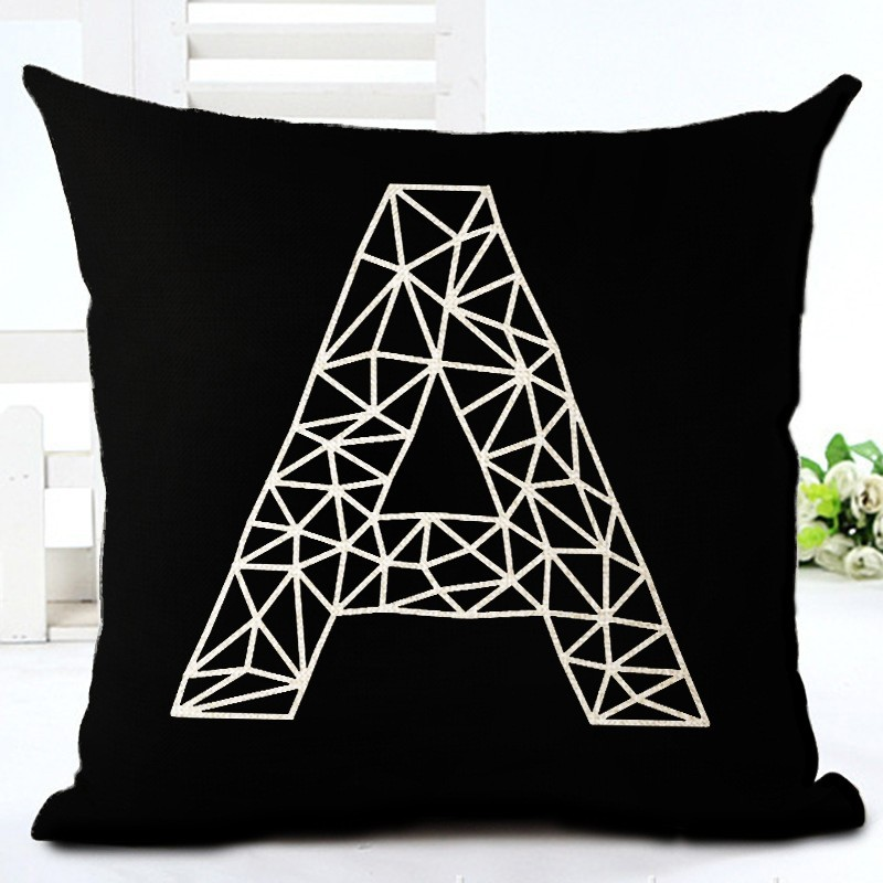 Fashion Style Black And White lines Chair Cushion Decor Cojines Sofa Throw Pillow Printed Cotton Linen Square Fundas 1
