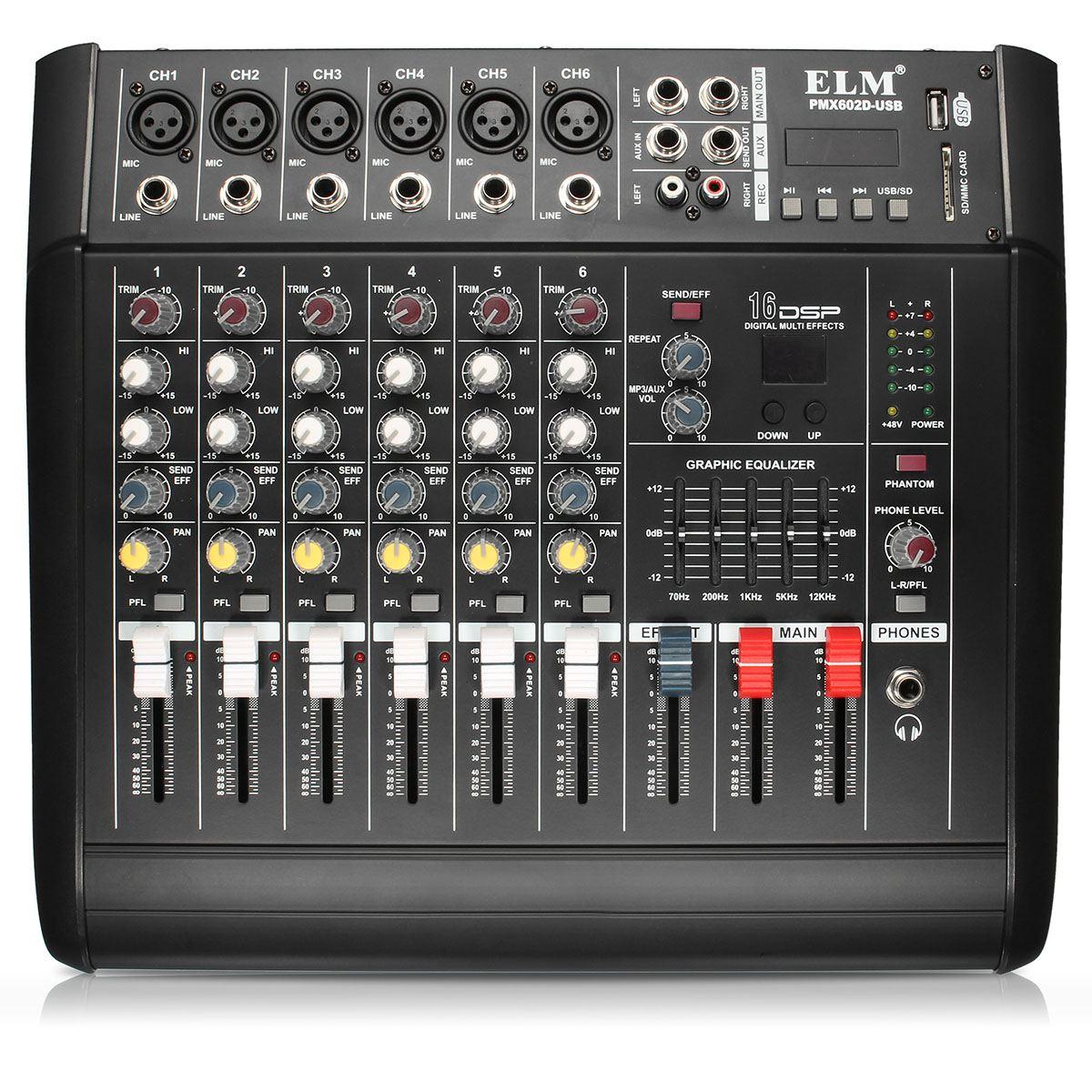 48 V Phantom alimentation mélangeur USB 6 canaux amplificateur DJ karaoké Audio mélangeur Support USB carte mémoire pour scène Performance famille