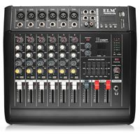48V Phantom Power Mixer USB 6 Channel Amplifier DJ Karaoke Audio Mixer Support USB Memory Card for Stage Performance Family