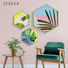 Nordic Leaf Plant Canvas Painting Geometric Creative Hexagonal Decorative Painting Wall Art Picture for Living Room Home Decor