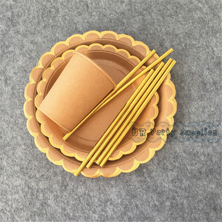 16 Sets Party Tableware Pack Brown Kraft Retro Dinner Plates Small 7inch Snack Dish Kraft Paper  sc 1 st  AliExpress.com & Free Ship 24pcs KRAFT PAPER PLATES Brown with Gold Foiled Scallop ...