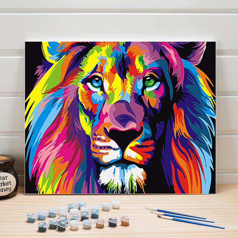 DIY Paint Pictures By Numbers Lion Animal Acrylic On Canvas Oil Paintings Kits For Living Room Wall Decoration Arts Color Adults