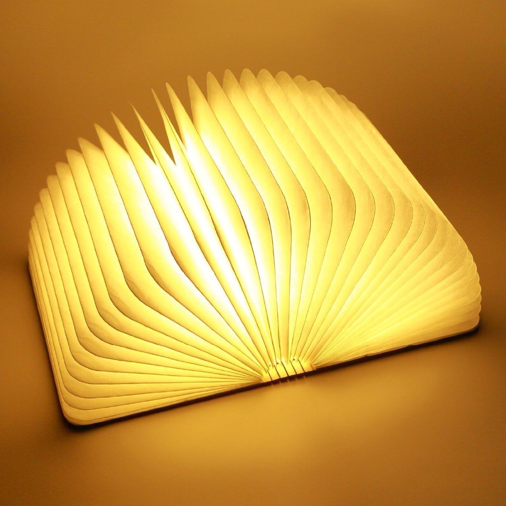 Grande Formato Portatile USB di Legno Pieghevole del Libro del LED Lampada Della Luce di Notte di Arte Decorativa Luci Da Tavolo/Parete Lampada Magnetica Caldo bianco