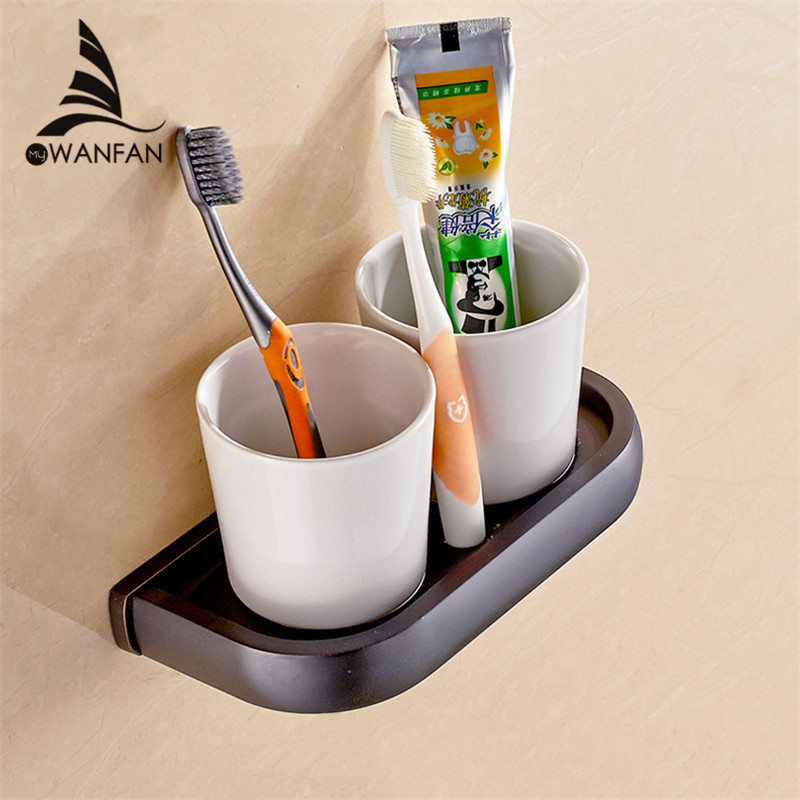 Cup & Tumbler Holders Solid Brass 5 Colors Toothbrush Holder With Double Ceramic Cups Wall-mounted Bathroom Accessories F81368 leyden new brass oil rubbed bronze double toothbrush tumbler holder wall mounted toothbrush holder with cup bathroom accessories