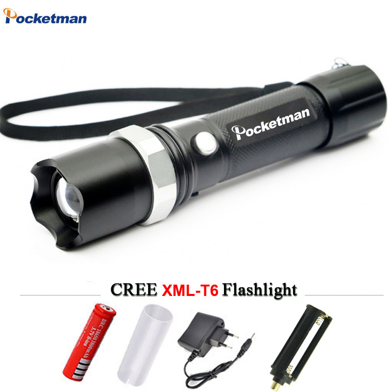 Powerful LED Flashlight CREE XM-T6 Lantern Rechargeable Torch Light Zoomable Waterproof AAA/18650 Battery linterna for Camping cree xm l2 flashlight 5000lm adjustable zoomable led xm l2 flashlight lamp light torch lantern rechargeable 18650 2chargers z30