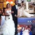 Strapless sereia vestidos de casamento 2016 New Romantic vestido de noiva branco Ruffled Organza vestido de casamento com Sash