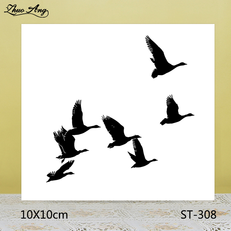 ZhuoAng Swans flying south Transparent seal sealed DIY scrapbook album decoration card seamless seal in Stamps from Home Garden