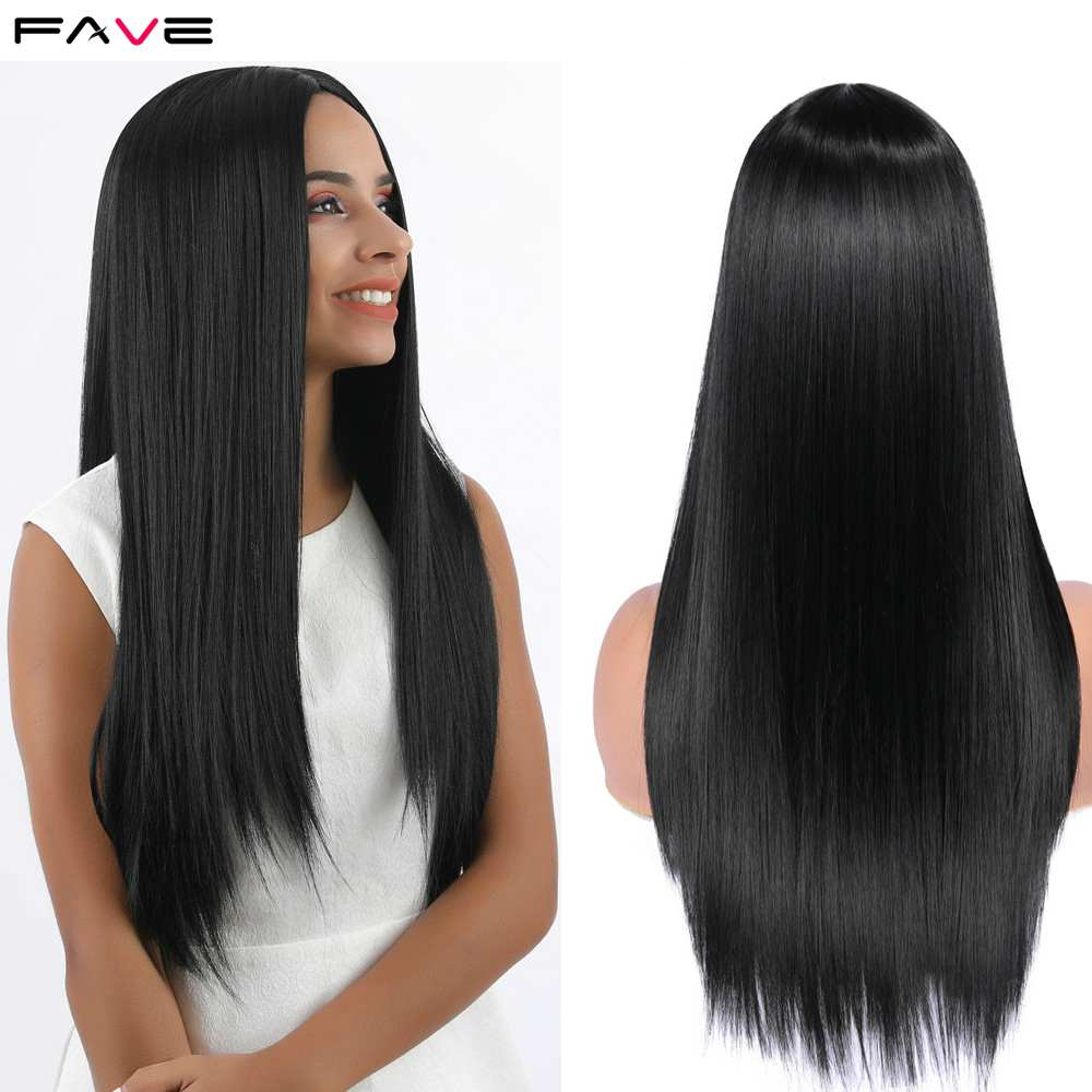 FAVE Long Silk Straight Natural Black/Pink/Purple/99J/Green Synthetic Wigs For Black White Women Heat Resistant Fiber Hair