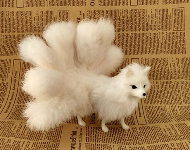 plastic&fur white fox with nine tails hard model about 23x12cm standing fox stage prop craft home decoration toy gift w0159 image