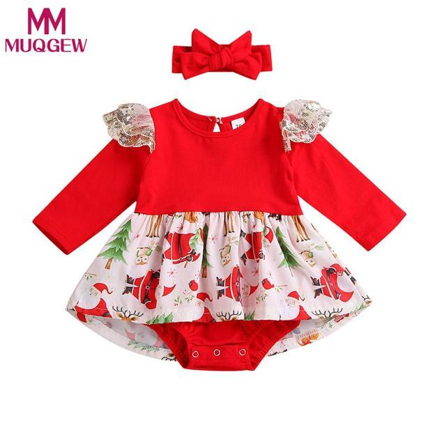 MUQGEW Newborn Baby Girl Christmas Lace Romper Bodysuit Tutu Dress Outfits Clothes Set roupas infantis menina