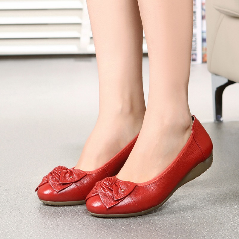 Women Flats Shoes Moccasins Genuine Leather Loafers Shoes Casual Ladies Shoes Butterfly-Knot Fashion Female Ballet Shoes ABT705 designer women loafers flower genuine leather shoes ladies moccasins ballet flats round toe casual zapatos mujer size 35 44