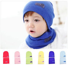 2016 Hot 2pcs Baby Boy Girl Children Winter Autunm Warm Cute Knit Crochet hat with scarf set Beanie Cap